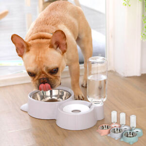 Pet Double Bowl Automatic Drinking Water Bowl Dog&Cat Feeders Food Dishes