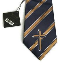 NEW Eagle Wings Luxury Tie Cross Sriped 4x58 Blue And Gold Christians Necktie