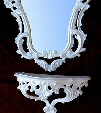 Wall Mirror White Baroque with Wall Bracket 50X76 Tray Dresser Retro Repro