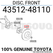 4351248110 Genuine Toyota DISC, FRONT 43512-48110