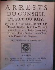 § Arrêts du Conseil d'Etat du Roi Brulhois Auvillar  - Agen, Gayau, 1728 §