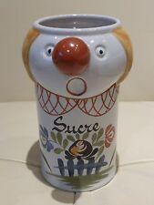 "Gabriel Fourmaintraux Dutertre Desvres French Pottery Clown Sugar ""Sucre"" Bowl"