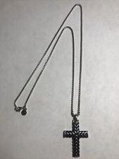 "EFFY Cross Pendant Necklace 925 Sterling Silver + 22"" EFFY Chain"