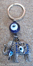 "KEYCHAIN (ELEPHANT) 4.2"" Amulet, Keyring, PROTECTION, Blue/White Beads Crystals"