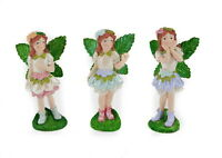 Miniature Fairy Garden Glitter Wing Petal Skirt Fairies Set of 3