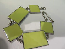 RETRO 60s 70s YELLOW & SILVER ENAMEL SQUARE PANEL CHAIN BRACELET new GIFT POUCH