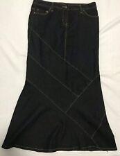 Bisou Bisou Denim Mermaid Maxi Skirt 10 P Blue Black Stretch Modest No Slit