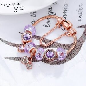 18K Rose Gold Plated Pink Crystal Heart Charm Bracelet Made With Swarovski