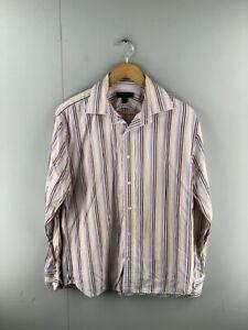 Express Design Studio Mens Brown Maroon Stripe Vintage Button Up Shirt Sz Large