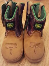 NEW John Deere Baby Crib Shoe Boots Brown & Mossy Oak Cowboy Camo Sz 4M