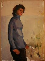 Russian Ukrainian Soviet Oil Painting female portrait figure Impressionism woman