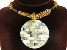 "2 3/8"" MOTHER OF PEARL SHELL MOSAIC GOLD BEADS necklace"