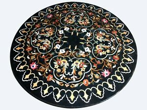 3'x2' Black Marble Dining Table Top Inlay Marquetry Floral Hallway Decors B826A