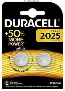 Duracell CR2025 batteries Lithium Coin Cell DL2025 3V Pack of 2 Expiry 2028