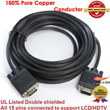 25FT SVGA VGA M/M Male to Male PREMIUM Monitor LCD CRT PROJECTOR Cable DB15