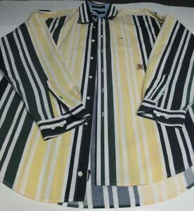 Tommy Hilfiger 90's Golf Multicolor Vertical Stripe Button Down Shirt Size Large