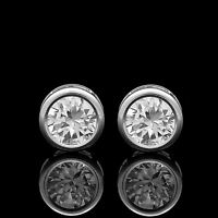 2CT Brilliant Created Diamond Bezel Earrings 14K Solid White Gold Round Studs