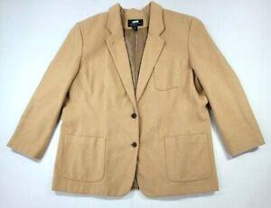 Ralph Lauren Blazer Sports Coat Camel Hair Large Pocket Buttoned Womens 22W USA