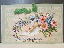 cpa fantaisie decoupi colombe fleur plume