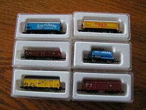 Marklin Mini Club Z Gauge Rail Cars #8633 8622 8635 8613 8632 8606 - Six Cars