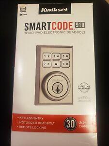 Kwikset Contemporary Satin Nickel SmartCode 910 Electronic Deadbolt Zigbee