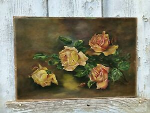 Vintage French Oil Painting Paper on Board of Roses Signed MALEPOND dated c1935