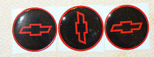 """4 2.55"""" RED&BLACK & RED DOMED STICKER DECALS BOW TIE STYLE FOR CHEVY Center Cap"""