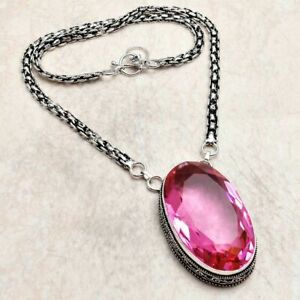 Pink Topaz Ethnic Handmade Necklace Jewelry 46 Gms AN 94776