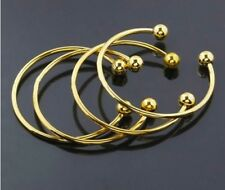 18k Yellow Gold Bracelets Adjustable With Removable Ends For Charms Beads D204
