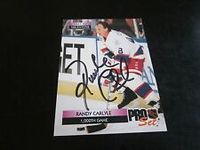 RANDY CARLYLE AUTOGRAPHED 1992 PRO SET 1000TH GAME CARD JETS