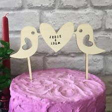 Love Birds Wooden Cake Topper Personalised Vintage Wedding