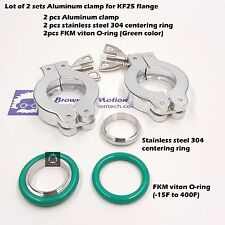 Combo 2 sets KF25 flange Aluminum clamp ring SS304 center ring  FKM viton O-ring