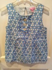 Lilly Pulitzer Signature Blue Daisy Top Size 2. Silk & Cotton.