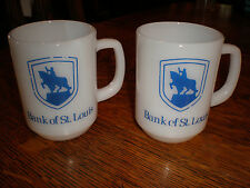 2 Vintage Fire King Milk Glass Mugs Coffee Cups Advertising St Louis Bank 8 oz