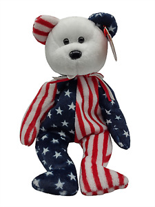 Ty Beanie Baby Spangle Bear White Patriotic Collectible Plush Retired Vintage