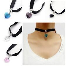 1X Gothic Velvet Heart Crystal Choker Handmade Necklace Pendant Retro 80 90s New