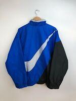Vintage 90's Nike Big Swoosh Logo Jacket Windbreaker Blue Black Grey Mens XL