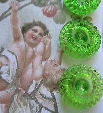 "Set of 4~Vintage Exquisite 3/4"" Apple Green Crystal Glass Buttons~New/old stock"