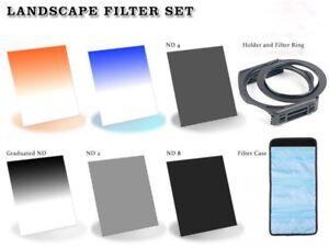 52mm Adapter Ring ND 2+4+8 Orange,Sky Blue Grad ND Filters+Holder & case