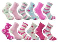4 Pairs Mixed Ladies Cosy Soft Fleece Lounge Bed Socks With Grip or Non Grip