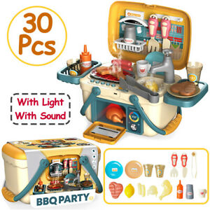 30PCS Electronic Kids BBQ Set Kitchen Food Cooking Pretend Play Toy Educational