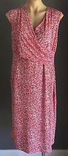 FRAGILE Red & White Stretchy Maternity Feeding Faux Wrap Dress Size XL (14)