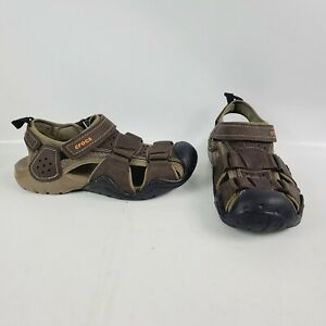 Crocs Swiftwater Leather Fisherman Mens Sandal 204562 Espresso US Size 8