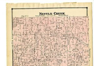 1874 Map of Nettle Creek, Indiana with family names, from Atlas of Randolph Cty