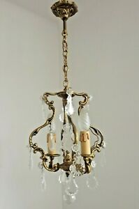 Stunning French Art Nouveau Style 2 Light Brass and Crystal Cage Chandelier 2988