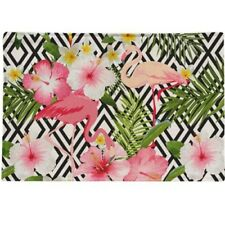 TROPICAL Placemats Flamingos Frangipani Palm Leaf Hibiscus 🌺 🌿 Set of 4