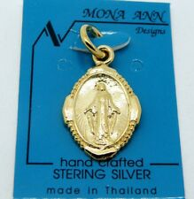 GP .925 SterlingSilverMiraculous Medal Virgin Mary Charm Pendant