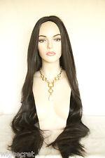 Dark Brown Brunette Long Skin Top Straight Wigs