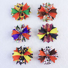 6pc 4inch Halloween Chistmas Boutique Hair Bows Clip or Elastic For Girl 2819-A