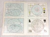 1898 Mappa Antica Lunar Solare Sistema Star Costellazioni Astronomia 19th Do